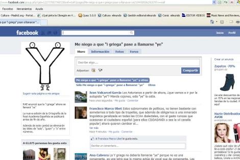 Página de facebook del grupo 'Me niego a que la 'i griega' pase a llamarse 'ye'.